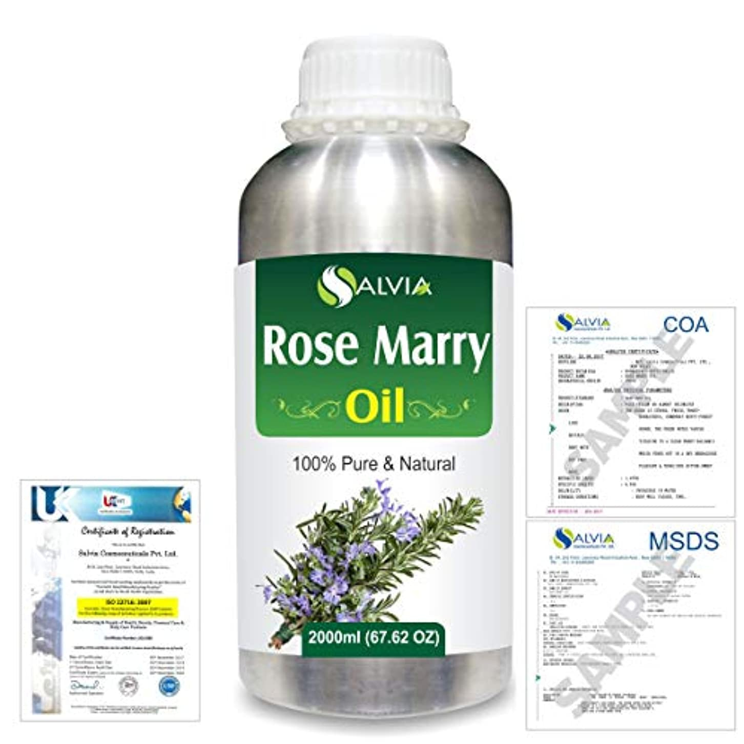 ポンプ育成知性Rose Marry (Rosmarinus officinalis) 100% Natural Pure Essential Oil 2000ml/67 fl.oz.