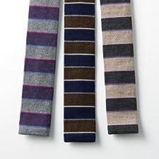 Ballantyne Wool Stripe Knit Tie: Grey, Navy, Beige