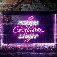 Michelob Golden Light Draft LED看板 ネオンサイン バーライト 電飾 ビールバー 広告用標識 ホワイト+パープル W40cm x H30cm