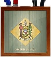 Rikki Knight Delaware Flag on Distressed Wood Design 5-Inch Wooden Tile Pen Holder (RK-PH8621) [並行輸入品]