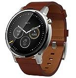 【第2世代】Moto 360 2nd Gen 2015 Smart Watch スマートウォッチ 腕時計 Android Wear iOS対応 (男性用 46mm シルバー コニャック) [並行輸入品]