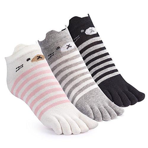 五本指 かわいいソックス レディース スニーカーソックス くま柄 三足セット 吸湿通気性 抗菌防臭 履き心地よい靴下