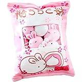 Cushion, 1 Bag Mini Snacks Dolls Pillow with Clear Window, Creative Plush Rabbit Pudding Cushion, Soft Toys Pillows for Sofa