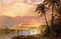 手描き-キャンバスの油絵 - Tropical 風景画 scenery Hudson River Frederic Edwin Church 芸術 作品 洋画 水景色 ホームデコレーション LEWE5 -サイズ14