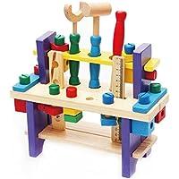 木のおもちゃ 大工さんのツールボックス ハンマー ドライバー スパナ ネジ ナット 定規 工具 セット