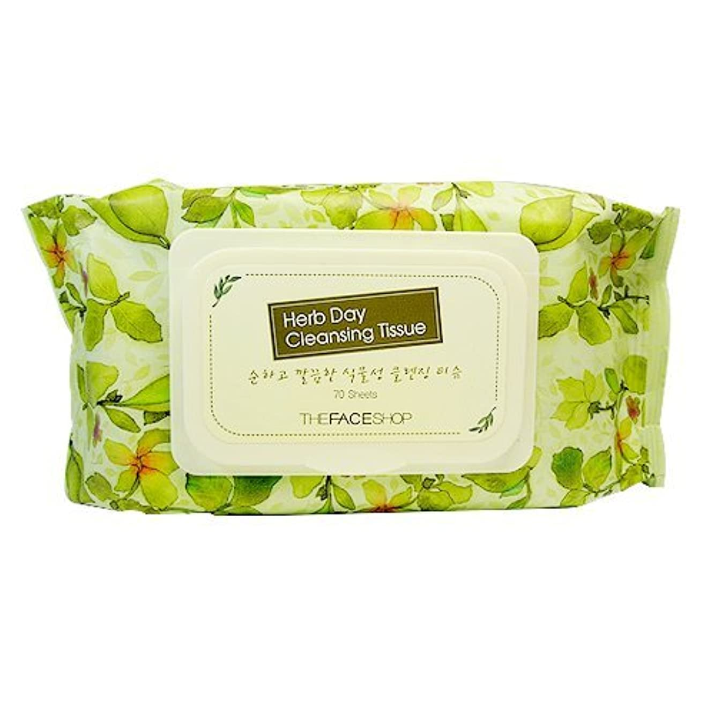 対処農業やさしいザフェイスショップ/the face shop ハーブデイクレンジングティッシュ70枚(Herb day cleansing Tissue 70 sheets)