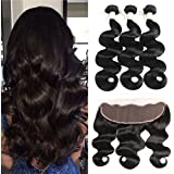 (14 14 14+12) - Morichy 8a Peruvian Body Wave 3 Bundles with Frontal Ear to Ear Lace Frontal Closure with Bundles Peruvian Virgin Hair with Closure Human Hair Extensions Lace Frontal (14 14 14+12)
