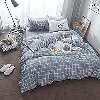 Peii Rori 掛け布団カバー 寝具カバーセット 寝具コットンツイルとキルトカバー シート 枕カバー 布団カバー グレー (色 : Gray1, サイズ : 150-180CM)