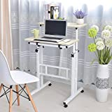 Soges 角度&高さ調節可能 昇降式サイドテーブル 可移動デスク キャスター付き サイドテーブルキノートパソコンスタンド 折りたたみテーブル 立ち 机 ナチュラルメイプル2