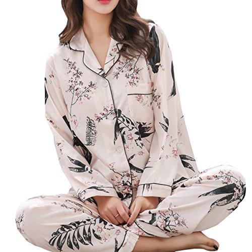 レディース パジャマ シルク 花柄 長袖 前開き 上下セット かわいい エレガント ソフト 絹 女性 用 ルームウェア 部屋着 便利服