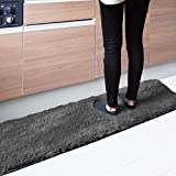 マット キッチンマット 洗える シャギー 約45cm×120cm グレー SARAH サラ 毛足30mmのふわふわエアリーパイル おしゃれ 台所 モノトーン