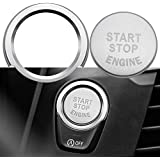 Ceyes Start Stop Engine Switch Button Car Push to Start Button Trim Cover + Ring Auto Engine Ignition Start Stop Button Stickers for BMW 1 2 3 4 5 X1 Series Push Start Cover & Ring Cover & Ring Silver
