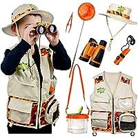 Safari Kidz Outdoor Adventure Set. Perfect Safari, Halloween, Hunting, Park Ranger Costume with Vest, Hat, Binoculars, Bug Net, Bug Container, Whistle, Flashlight, Magnifying Glass, Tweezers