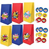 Cartoon Party Supplies Goodie Bags with Thank You Stickers, Cartoon Birthday Favor Bags for Theme Party Decorations Boys & Gi