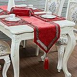 Linannau テーブルクロス現代的なシンプルな長方形のコーヒーテーブルテーブルテーブルのテーブルクロスは、家の装飾に適用 (Color : レッド, サイズ : 33*180CM)