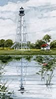 ケープSan Blas灯台ポート聖ジョー・Florida Watercolor Mattedアートプリント 4x7
