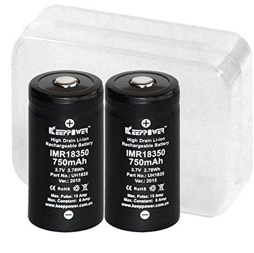 【KEEPPOWER IMR 18350 750mAh リチウムマンガンバッテリー 2本】 電池ケース MAX : 15A /Constant : 8A 電子タバコ 用 (ボタントップ)