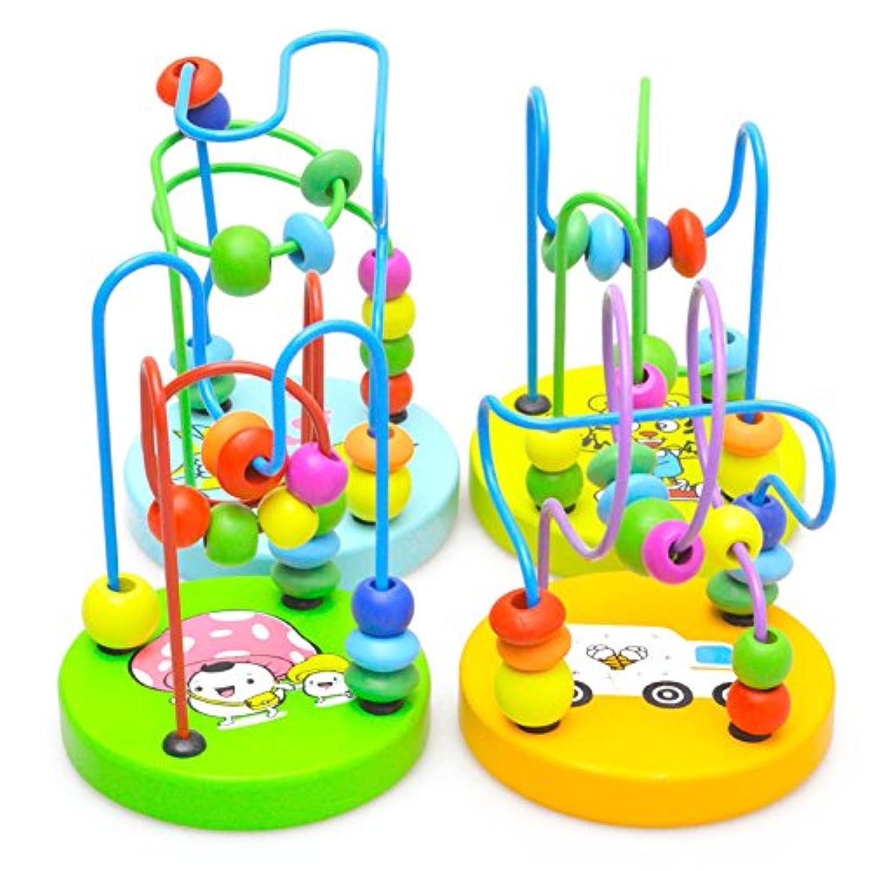 子供赤ちゃんカラフルな木製ミニ周りビーズ教育ゲームおもちゃクリスマスギフト(ランダム送信)