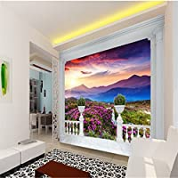Sproud 大規模なカスタムの壁紙ヨーロッパのバルコニーが付いた山の景色の 3D テレビの背景の壁 Papel De Parede Quarto Para 350 Cmx 245 Cm