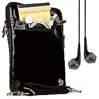 VanGoddy Hydei クロスボディ ショルダーバッグ Quantum/Insignia/NeuTab/WinBook/Nextbook/Nuvision/Hipstreet/Dragon Touch/Digital Reins 10.1インチタブレット用 (パテントレザー ブラック) + VG ヘッドホン