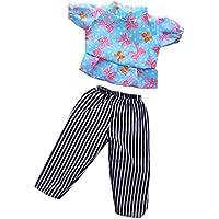 Lovoski  人形 優雅 Tシャツ ストライプ パンツ 18インチアメリカンガールドール適用 装飾