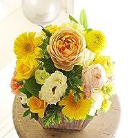 [AF156]デザイナーズフラワーアレンジメントSサイズ Warm Impressed(黄色・オレンジ系)< 誕生日祝い 結婚祝い 結婚記念日 出産祝いに >