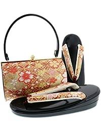[ 京都きもの町 ] 振袖 草履バッグセット「赤×ゴールド 七宝に雪輪、桜」LLサイズ