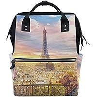 ママバッグ マザーズバッグ リュックサック ハンドバッグ 旅行用 眺め 美しいパリ プリント ファション
