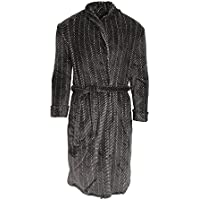 Harvey James Mens Supersoft Striped Dressing Gown