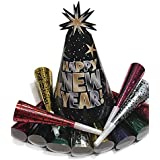 New Years Eve Party Supplies - NYE Hat and Noise Maker for 2019 - Includes 12 Happy New Year Hats and 12 Noise Makers
