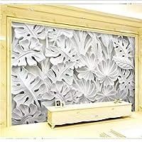 Weaeo 大きな壁画白い葉の3D壁の壁紙の壁紙のテレビの背景リビングルームの3D写真壁画壁紙の3D-350X250Cm