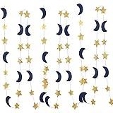 月と星 ガーランド デコレーション ネイビーゴールド グリッター 宇宙 誕生日 パーティー デコレーション ハンギングデコレーション ハニームーン ウェディング 婚約 きらめく星 ベビーシャワー 誕生日デコレーション