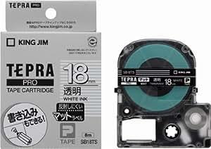 キングジム テープカートリッジ テプラPRO SB18TS 18mm 透明/白文字