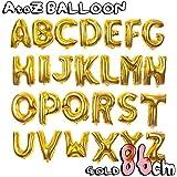 アルファベット 文字 パーツ 風船 大きい 86cm ゴールド デザイン アルファベット文字バルーン 飾り 立体 英語 ぺたんこ配送
