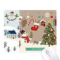 メリー・クリスマス雪だるまギフトパターン サンタクロース家屋ゴムのマウスパッド