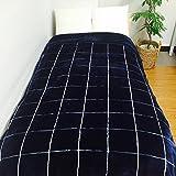 極上 2枚合わせ毛布 洗える マイクロファイバー毛布 えり付き チェック青(ラティス) 140×200cm[BL-3] 100230623001-01-03