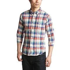 Beauty & Youth 7/10 Sleeve Madras Buttondown Shirt 1216-149-0845: Cobalt