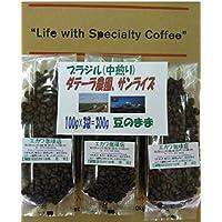 自家焙煎コーヒー豆【ブラジル】ダテーラ農園・サンライズの中煎、100g×3袋=300g(豆のまま)/ネコポス便発送の