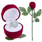Romantic Red Rose Storage Organizer Engagement Wedding Ring Box Plastic Box for Jewelry