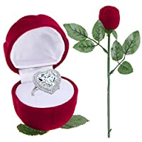 Romantic Red Rose Storage Organizer Engagement Wedding Ring Box Plastic Box for Jewelry