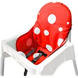 IKEA Antilop Highchair Seat Covers & Cushion by Zama, Washable Foldable Baby Highchair Cover IKEA Childs Chair Cushion (Red)