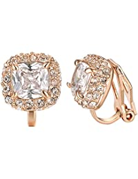 Yoursfs Clip on CZ Earrings for Girl Sparkly Cubic zirconia Prom Jewelry Non Pierced Earrings