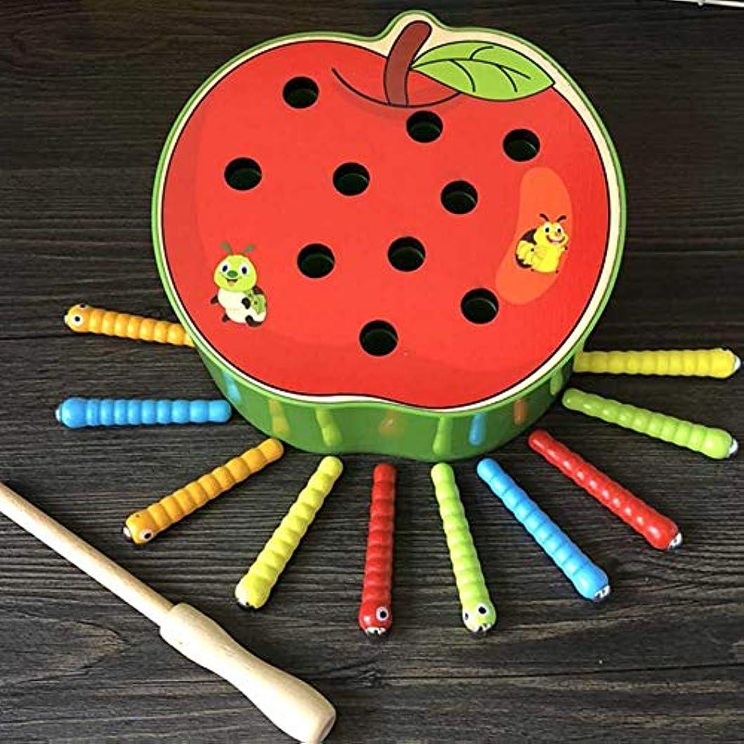 衝突する詐欺師精緻化教育玩具、磁気木製玩具、環境にやさしい捕獲ワーム木製玩具、子供のための就学前の誕生日パーティーの男の子のための非毒性の女の子(Apple Crawler)