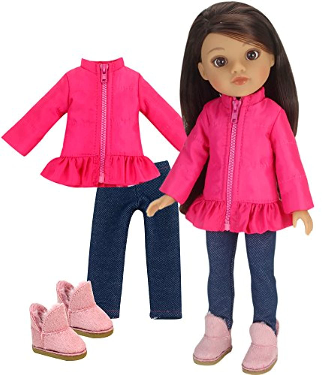 36cm Doll Clothes Outfit by Sophia's Hot Pink Puffy Coat, Jeggings & Doll Boots Fits American Girl Wellie Wishers Dolls 37cm Doll 3 Piece Set