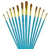 LANIAKEA ペイントブラシ 平筆 12本セット(ナイロン) 油絵/水彩画/アクリル/工芸/フェイスなど(ブルー)