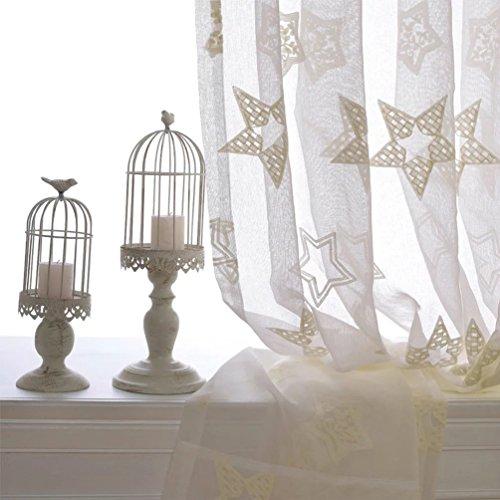 Unusual 星 レースカーテン カーテン 遮光 寝室用 レストラン 幼稚園 オフィス おしゃれ インテリア レース ホテル 幅100×丈135cm