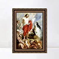 """INVIN ART Framed Canvas Art Giclee Print Series#027 by Peter Paul Rubens Wall Art Living Room Home Office Decorations(Vintage Embossed Gold frame,28""""x40"""")"""