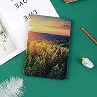 おしゃれな新しい ipad pro 11 2018 ケース スリムフィット シンプル 高級品質 手帳型 スエード柔らかな内側 スタンド機能 保護ケース オートスリープ 地平線の劇的な色の森の丘の上の風光明媚な夕焼けの空中印刷