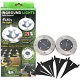 2 Piece Set of in Ground Solar Powered Lights with 4 Led per Light