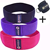 ArnoldSport Hip Band Resistance Set of 3 (Black, Purple, Red) Circle Loop Exercise Elastic Slingshot for Legs, Booty, Thighs, Hips, Glutes, Fitness Workout Men and Women with Ankle Strap and Carry Bag